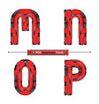 Alphabet typography font red machinery style in a