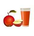apples and glass of juice vector image