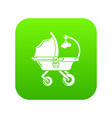 baby carriage cute icon green vector image vector image