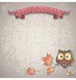 background with owl and autumn leaves vector image vector image