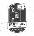 basketball club badge vector image vector image
