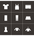 black clothes eyes icons set vector image