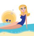 blond girl sunbathing on beach vector image vector image