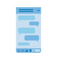 blue smartphone screen with chat messages bubbles vector image vector image