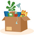cardboard box with personal belongings vector image