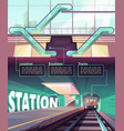 cartoon infographic with train in metro station vector image vector image