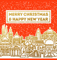 christmas card with greetings and cityscape vector image
