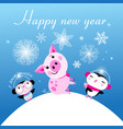 congratulatory christmas card with a pig and vector image vector image