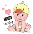Cute Cartoon Baby boy in a Duckling hat vector image vector image