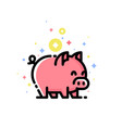 cute pink pig isolated on white background vector image