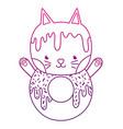 degraded outline kawaii cute cat donut food vector image
