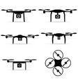 drone in black color set art on white background vector image