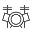 drum set line icon music and instrument vector image vector image