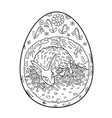 easter rabbit in egg shape vector image vector image