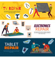 electronics repair banners set vector image
