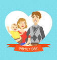 family day banner template cheerful parents and vector image