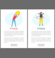 fitness woman training with ball and hoop website vector image