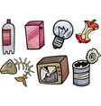 garbage objects cartoon set vector image vector image