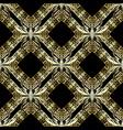 gold 3d geometric greek seamless pattern vector image vector image