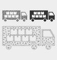 goods transportation truck mesh wire frame vector image vector image