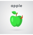 Green apple with funny worm vector image