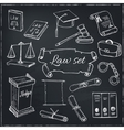 Hand drawn law symbols set vector image