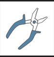 hand drawn pliers doodle sketch style icon vector image vector image