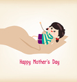 happy Motherss day hand holding a baby vector image vector image