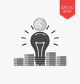 Light bulb and stacks of coins icon idea vector image