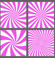 Magenta spiral and ray burst background set vector image vector image