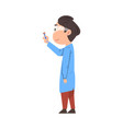 male chemist scientist holding test flask student vector image vector image