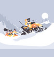 man on snowmobile drives children vector image vector image