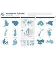 maps set high detailed 12 maps of northern europe vector image vector image