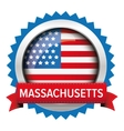 Massachusetts and USA flag badge vector image vector image