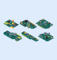 motherboard isometric computer manufacturing vector image