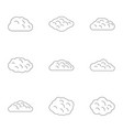 nature cloud icon set outline style vector image