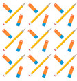 pencil and eraser seamless pattern vector image vector image