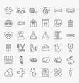 pet vet line icons set vector image vector image