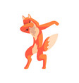 red fox standing in dub dancing pose cute cartoon vector image vector image