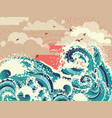 retro ocean waves vector image vector image