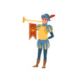 royal herald with trumpet european medieval vector image vector image