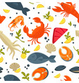 seafood fresh fish catch seamles spattern vector image vector image