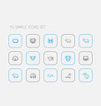 set of 15 editable zoology outline icons includes vector image