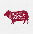 Sheep ram silhouette and hand written lettering vector image