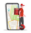 smartphone with app and man riding monowheel vector image vector image