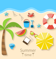 Summer time with flat set colorful simple icons on vector image vector image