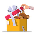 teddy bear inside gift box vector image vector image