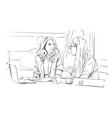 two business women talking in the office vector image