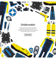 underwater diving equipment vector image vector image