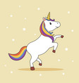 unicorn with rainbow mane and horn vector image vector image